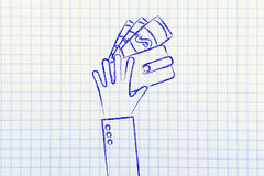 Χέρια με το πορτοφόλι και τα τραπεζογραμμάτια, επίπεδη απεικόνιση Στοκ φωτογραφίες με δικαίωμα ελεύθερης χρήσης