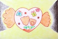 χέρια παιδιών που κρατούν την αγάπη που χρωματίζει δύο απεικόνιση αποθεμάτων