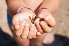 Χέρια παιδιών που κρατούν τα θαλασσινά κοχύλια Στοκ Φωτογραφία