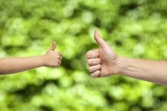 Χέρια πατέρων και γιων που δίνουν όπως στο υπόβαθρο φύσης Στοκ Εικόνες