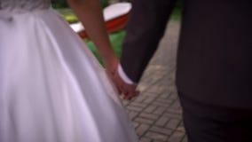 Χέρια περπατήματος νυφών και νεόνυμφων απόθεμα βίντεο