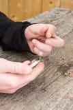 Χέρια που δένουν το θέλγητρο αλιείας Στοκ φωτογραφία με δικαίωμα ελεύθερης χρήσης