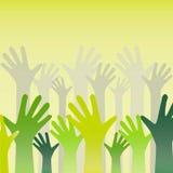 Χέρια που αυξάνονται στον αέρα και ενθαρρυντικά Στοκ Φωτογραφίες