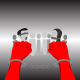 χέρια που αλυσοδένουν Ελεύθερη απεικόνιση δικαιώματος
