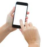 Χέρια που κρατούν ένα σύγχρονο smartphone Στοκ φωτογραφία με δικαίωμα ελεύθερης χρήσης