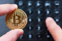 Χέρια που κρατούν ένα χρυσό bitcoin και που κάνουν τους υπολογισμούς Στοκ φωτογραφία με δικαίωμα ελεύθερης χρήσης