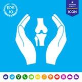Χέρια που κρατούν γόνατο-κοινά - εικονίδιο προστασίας Στοκ Εικόνες
