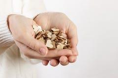 Χέρια που κρατούν μια μαλακή μορφή καρδιών διακοσμητική ξύλινη καρδιά στοκ φωτογραφία με δικαίωμα ελεύθερης χρήσης
