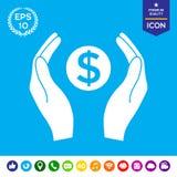 Χέρια που κρατούν τα χρήματα - σύμβολο δολαρίων Στοκ Εικόνες