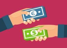 χέρια που κρατούν τα χρήματ&al Ανταλλαγή νομίσματος, μεταφορά διανυσματική απεικόνιση