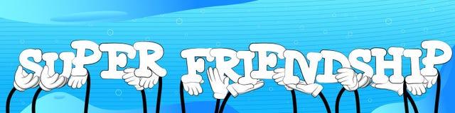 Χέρια που κρατούν την έξοχη φιλία λέξεων απεικόνιση αποθεμάτων