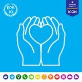Χέρια που κρατούν την καρδιά - εικονίδιο προστασίας Στοκ Εικόνες