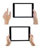 Χέρια που κρατούν την ταμπλέτα καθορισμένη στο άσπρο υπόβαθρο Στοκ Φωτογραφία