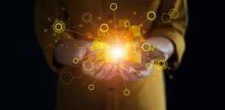 Χέρια που κρατούν τη σύνδεση παγκόσμιων δικτύων Τεχνολογία Blockchain Ανταλλαγή στοιχείων στοκ φωτογραφία με δικαίωμα ελεύθερης χρήσης