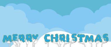 Χέρια που κρατούν τη Χαρούμενα Χριστούγεννα λέξης διανυσματική απεικόνιση