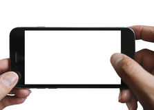 Χέρια που κρατούν το έξυπνο τηλέφωνο απομονωμένο Στοκ Εικόνες