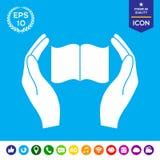 Χέρια που κρατούν το εικονίδιο προστασίας βιβλίων Στοκ φωτογραφίες με δικαίωμα ελεύθερης χρήσης