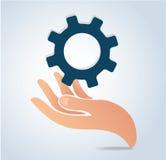 Χέρια που κρατούν το διάνυσμα εικονιδίων λογότυπων σχεδίου εργαλείων Στοκ φωτογραφία με δικαίωμα ελεύθερης χρήσης