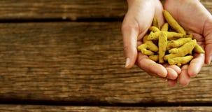 Χέρια που κρατούν turmeric ενάντια στον ξύλινο πίνακα 4k απόθεμα βίντεο