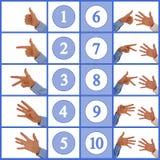 Χέρια που λογαριάζουν τους αριθμούς ένα έως δέκα Στοκ Φωτογραφίες
