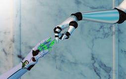 Χέρια ρομπότ που φθάνουν το ένα στο άλλο Στοκ Εικόνες