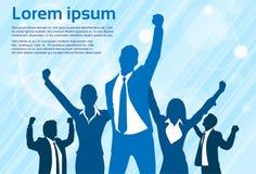 Χέρια σκιαγραφιών εορτασμού επιχειρηματιών επάνω ελεύθερη απεικόνιση δικαιώματος
