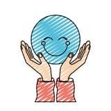 Χέρια σκιαγραφιών κραγιονιών χρώματος με το επιπλέον μπλε ευτυχές πρόσωπο ελεύθερη απεικόνιση δικαιώματος