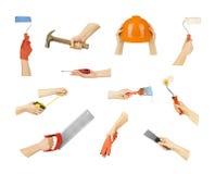 Χέρια συλλογής με τα εργαλεία κατασκευής Στοκ φωτογραφία με δικαίωμα ελεύθερης χρήσης