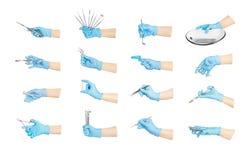 Χέρια συλλογής με τα οδοντικά εργαλεία Στοκ Φωτογραφία