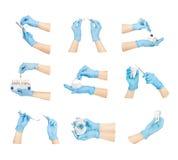 Χέρια συλλογής με τα οδοντικά εργαλεία Στοκ Εικόνες