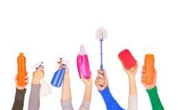 Χέρια συλλογής με τα στοιχεία για τα πιάτα πλύσης Στοκ φωτογραφία με δικαίωμα ελεύθερης χρήσης