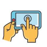 Χέρια σχετικά με την έννοια ταμπλετών ελεύθερη απεικόνιση δικαιώματος