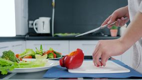 Χέρια της γυναίκας με το μαχαίρι που τεμαχίζει το γλυκό κόκκινο πιπέρι για τη σαλάτα στον τέμνοντα πίνακα, υγιή τρόφιμα φιλμ μικρού μήκους