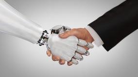 Χέρια τινάγματος ρομπότ και ατόμων τρισδιάστατος δώστε στοκ εικόνα με δικαίωμα ελεύθερης χρήσης