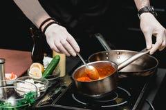 Χέρια του αρχιμάγειρα που κάνει τα υγιή φρέσκα fajitas ή τα fajitos με το βόειο κρέας Εύκολος, αλλά νόστιμος, υγιής Εθνικά μεξικά στοκ φωτογραφίες με δικαίωμα ελεύθερης χρήσης