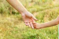 Χέρια του γονέα και του παιδιού στη φύση στοκ φωτογραφία
