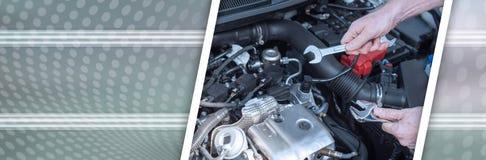 Χέρια του μηχανικού αυτοκινήτων που λειτουργούν στη μηχανή αυτοκινήτων έμβλημα πανοραμικό διανυσματική απεικόνιση