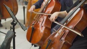 Χέρια των μουσικών που παίζουν το βιολοντσέλο στην ορχήστρα απόθεμα βίντεο