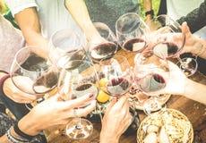 Χέρια φίλων που ψήνουν το γυαλί κόκκινου κρασιού και που έχουν τη διασκέδαση υπαίθρια στοκ εικόνες