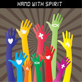 Χέρια χρώματος με το σημάδι Στοκ εικόνες με δικαίωμα ελεύθερης χρήσης