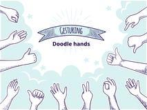 Χέρια Doodle όπως την απέχθεια Η ευτυχής συρμένη χέρι έννοια πελατών, αντ διανυσματική απεικόνιση