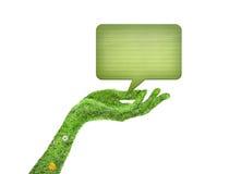 Χέρι, έννοια συμβόλων οικολογίας Στοκ Εικόνα