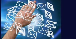 Χέρι ανοικτό με τα τρισδιάστατα εικονίδια μηνυμάτων ηλεκτρονικού ταχυδρομείου Στοκ φωτογραφία με δικαίωμα ελεύθερης χρήσης