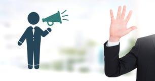 Χέρι ανοικτό με τον ομιλητή εκμετάλλευσης εικονιδίων επιχειρηματιών Στοκ εικόνα με δικαίωμα ελεύθερης χρήσης