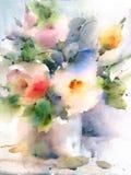 Χέρι απεικόνισης Watercolor θερινών λουλουδιών που χρωματίζεται Στοκ Φωτογραφία