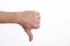 Χέρι ατόμων με τον αντίχειρα που απομονώνεται κάτω στο λευκό Στοκ Εικόνες