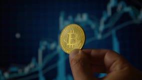 Χέρι ατόμων που κρατά ένα χρυσό νόμισμα bitcoin απόθεμα βίντεο