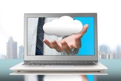 Χέρι λαϊκό από την οθόνη με το σύννεφο Στοκ Εικόνα