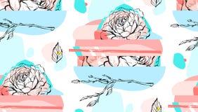 Χέρι - γίνοντα αφηρημένο κατασκευασμένο καθιερώνον τη μόδα δημιουργικό κολάζ άνευ ραφής σχέδιο με το floral μοτίβο που απομονώνετ Στοκ Φωτογραφίες