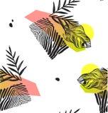 Χέρι - γίνοντα αφηρημένο καλοκαίρι εξωτικό φυτό ζουγκλών τροπικά φύλλα παλαμών άνευ ραφής σχέδιο που απομονώνεται στο άσπρο υπόβα Στοκ Φωτογραφία